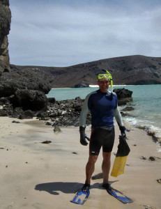 Dr. Z. is about to snorkel out to the famous Balancing Rock at Balandra Bay, La Paz, Mexico.