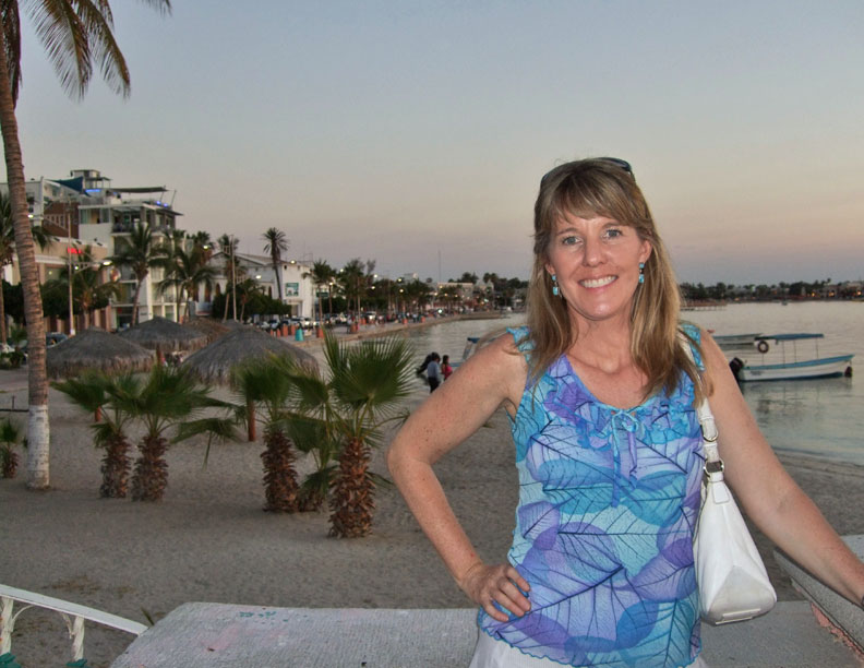 Sheri enjoying the Malecon at dusk.